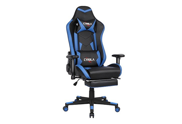 Fabulous Cyrola Large Size Real Pu Leather High Back Comfortable Gaming Chair With Footrest Pc Racing Chair With Lumbar Massager Support Headrest Ergonomic Caraccident5 Cool Chair Designs And Ideas Caraccident5Info