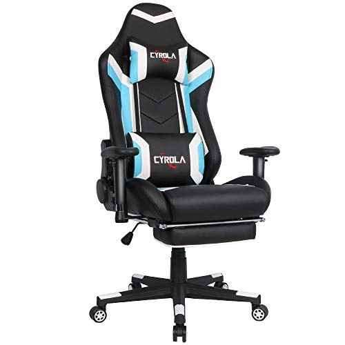 Cool Cyrola Large Size Real Pu Leather High Back Comfortable Gaming Chair With Footrest Pc Racing Chair With Lumbar Massager Support Headrest Ergonomic Caraccident5 Cool Chair Designs And Ideas Caraccident5Info
