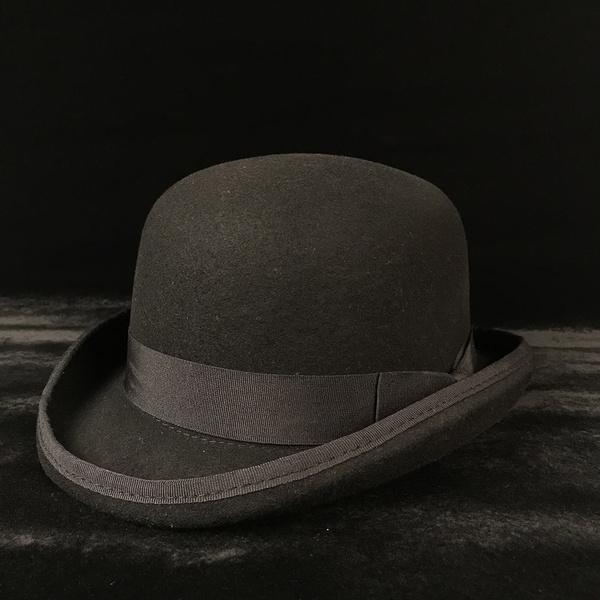 f81ea85a4b2d60 4Size 100% Wool Women's Men's Black Bowler Hat Gentleman Crushable ...