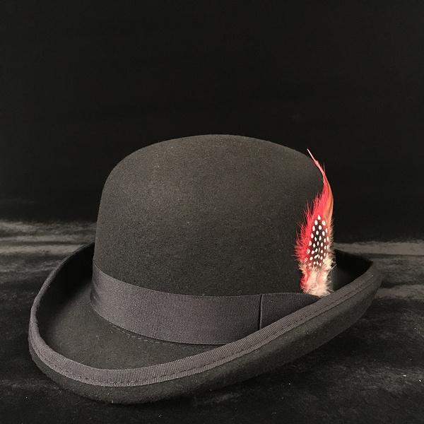 e1f827df2c2b73 4Size 100% Wool Women's Men's Black Bowler Hat Gentleman Crushable Fedora Hat  Dad Billycock Groom Hats Steampunk Size S M X XXL | Wish