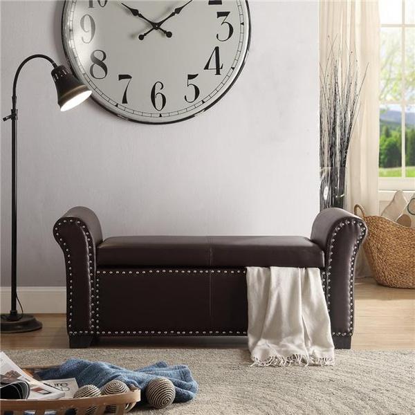 Awesome Posh Living Ashley Pu Leather Modern Contemporary Nailhead Trim Storage Ottoman Bench Espresso Theyellowbook Wood Chair Design Ideas Theyellowbookinfo