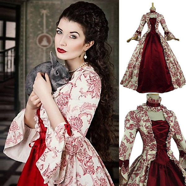 Vintage Rococo Victorian Costume Women\'s Dress Party Costume Masquerade  Ball Gown Red Vintage Long Sleeve Poet Sleeve Long Length Ball Gown Plus  Size ...
