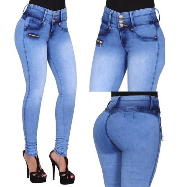 79caf516550 Slim Jeans for Women Skinny High Waist Jeans Woman Blue Denim Pencil ...