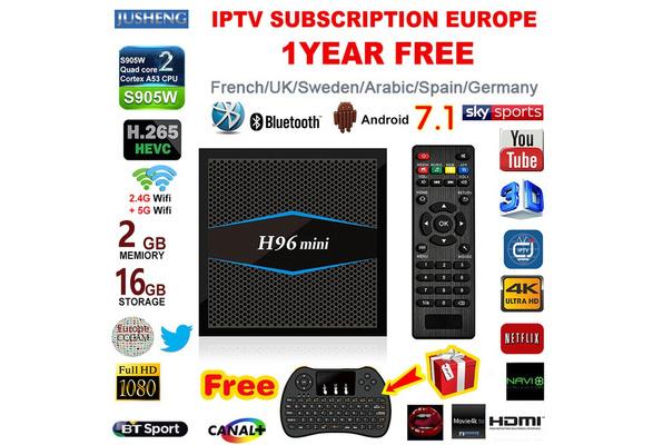 [Free 1 Year IPTV Europe+Mini Keyboard] H96 mini Android 7 1 Smart IP TV  Box 2GB/16GB 4K S905W Quad Core 2 4/5GHz WiFi 100M LAN Bluetooth 4 0 H 265  4K