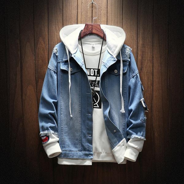 New Fashion Men Hooded Denim Jacket Cowboy Tracksuits Men Two Piece Stitching Jeans Coat
