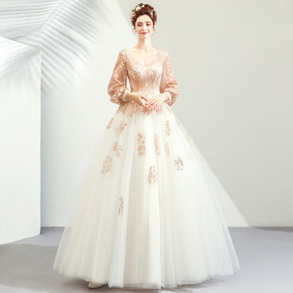 look out for hot sale attractive price Women Long Sleeved Wedding Dress Deep V-neck Low Cut Backless Gold Sequin  Prom Ball Gown