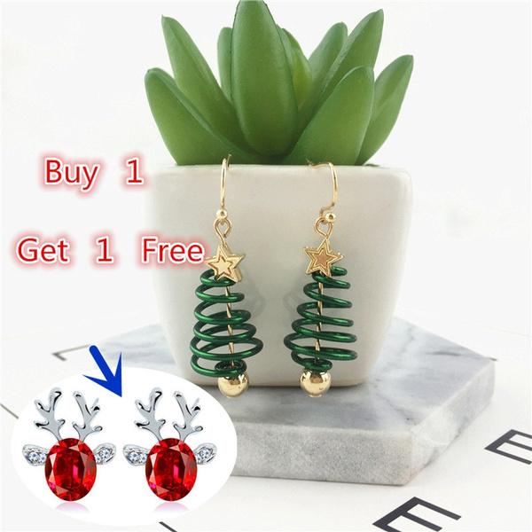 Christmas, gold, Stud Earring, femaleearring