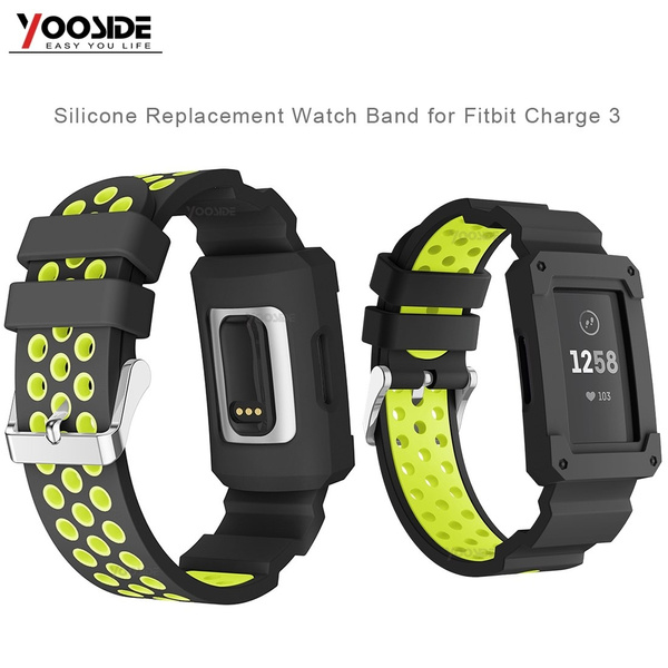 Soft Silicone Wrist Strap Band With Case for Fitbit Charge 3/Charge 3 SE  Adjustable Waterproof Sport Replacement Wristband