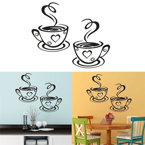 Coffee Cups Cafe Wall Stickers Art Vinyl Decal For Pub Restaurant FAST