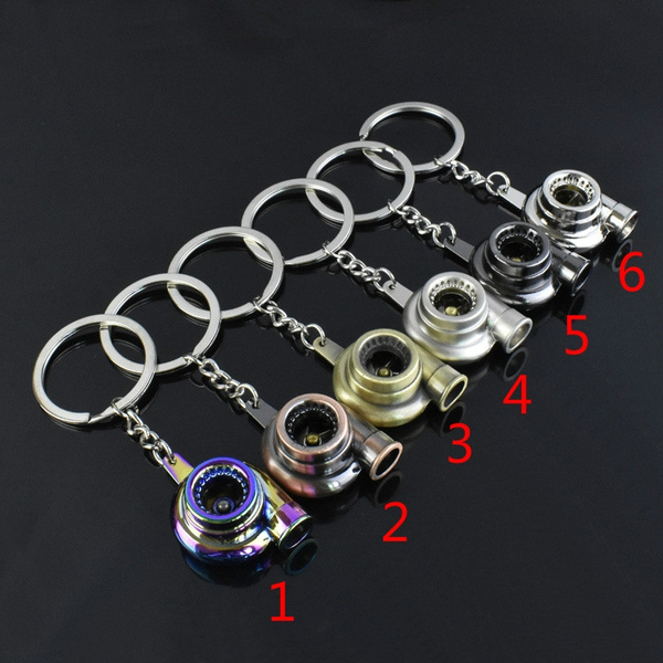 Car gun black turbo Metal keychain  key chain link Pendant accessories