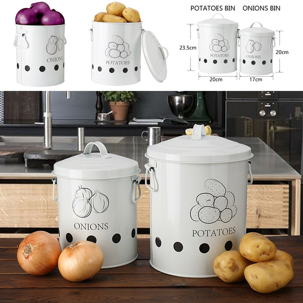 Potato Bin Storage Metal Tin Kitchen Picnic Outdoor Carry Box For Store Potatoes Garlic Fruit And Onion Vegetable Containers