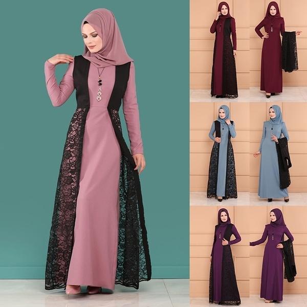 Women Islamic Muslim Dress Vintage Long Sleeve Lady Printed Abaya Dresses Formal Party Dress Dubai Dresses Wish