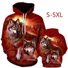 Fashion, wolfprint, coolhoodie, unisex