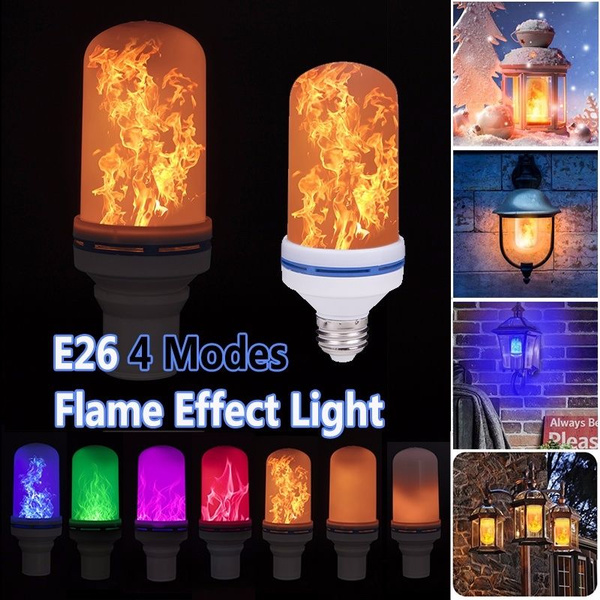LED Flame Effect Fire Light Bulbs E26 4 Modes Simulated Decorative Light Atmosphere Lighting Vintage Flaming Christmas Lights Party Decoration