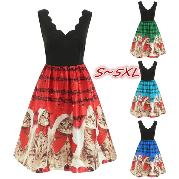 Vogue Kawaii Christmas Musical Notes and Cats Flare Dress Girls Plus Size  Cute Midi Dresses