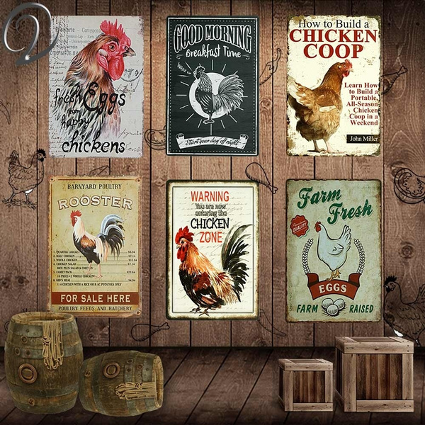 Warning Chicken Zone Rooster Kitchen Home Decor Garden Wall Art Vintage Sign Decor Plate Metal Tin Sign