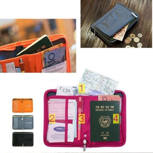 Travel Bag Wallet Purse Document Organiser Zipped Passport Tickets ID Holder