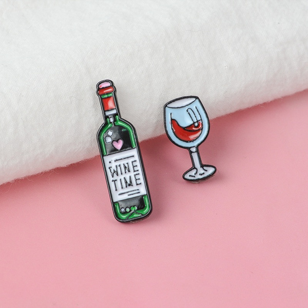 Wine Time Enamel Pin Badge Pin Up Alcohol Badge Brooch Drink