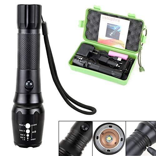 LED Tactical USB Rechargeable 18650 Waterproof High Lumens XML T6  Flashlight Portable Zoomable Large Flashlights Tac Light Torch For  Emergency Outdoor