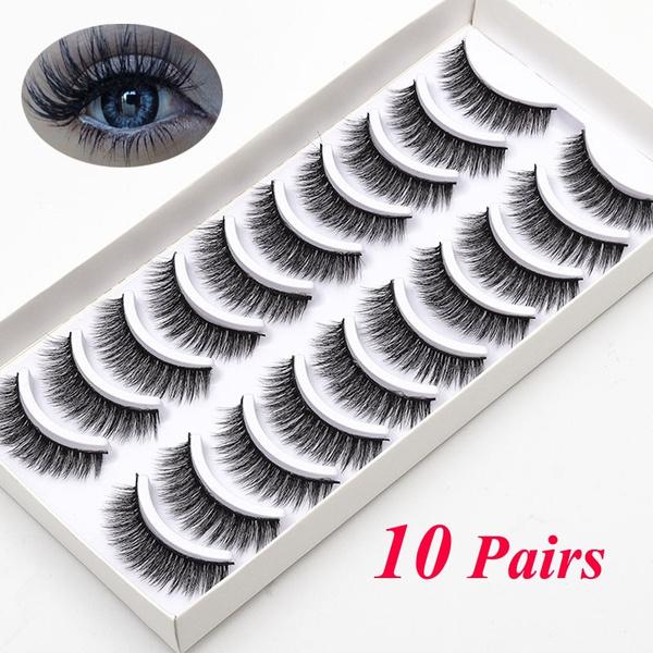 c3d1884c4f8 NEW 10 Pairs Real Mink Eyelashes 3D Natural False Eyelashes 3d Mink ...