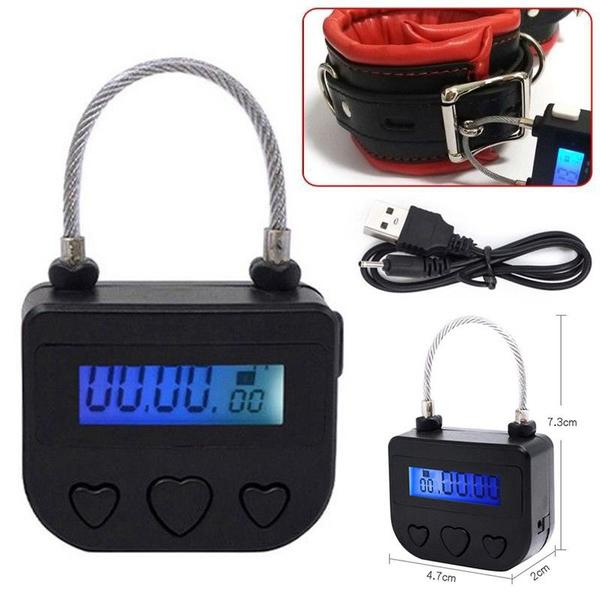 Black Multipurpose Time Lock Waterproof USB Rechargeable Time Switch Padlock