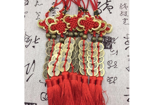 Coin Prosperity Charm China Mascot Chinese Knot Tassel Car Home Decoration