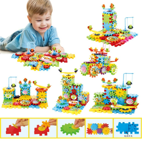 e63bb920 Gear Building Blocks Set Educational Toy Interlocking Learning Blocks  Colorful Shapes Puzzle Funny Electric Bricks Motorized Spinning Gears for  ...