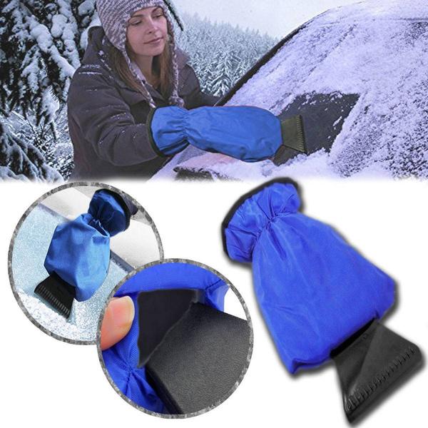 Car Winter Ice Snow Scraper Mitt Fleece Glove Window Windshield