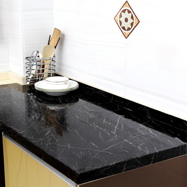 New Black Marble Contact Paper Granite Wallpaper Self Adhesive