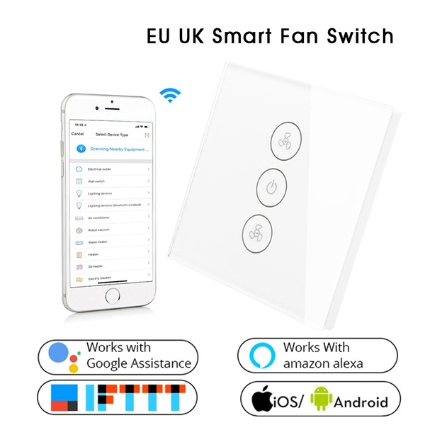 EU UK WiFi Smart Ceiling Fan Switch APP Remote Timer and Speed Control  Compatible with Alexa and Google Home No Hub Required