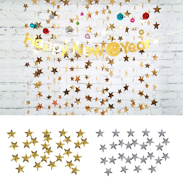 4m Glitter Paper Stars Garland String For Birthday Party Backdrop Bunting Banner Decoration Diy Christmas New Year Party Decor