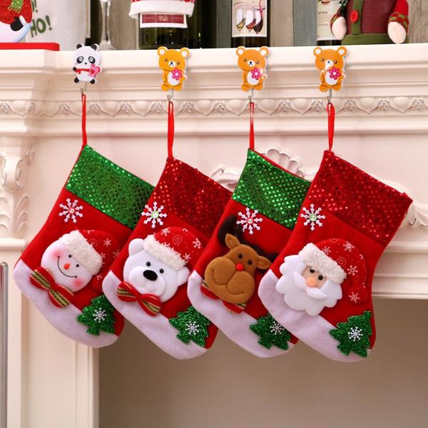 Christmas Gift Bags For Kids.Christmas Stocking Plaid Santa Claus Sock Gift Bag Kids Xmas Decoration Candy Bag Christmas Decoration