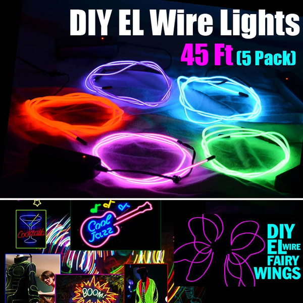 (5 Pack, Each of 9ft) EL Wire Kit,Portable Neon Lights for Party DIY  Decoration