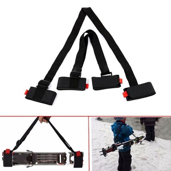 New Adjustable Skiing Pole Shoulder Hand Carrier Lash Handle Straps Porter  Hook Loop Protecting Nylon Ski Handle Strap Bags