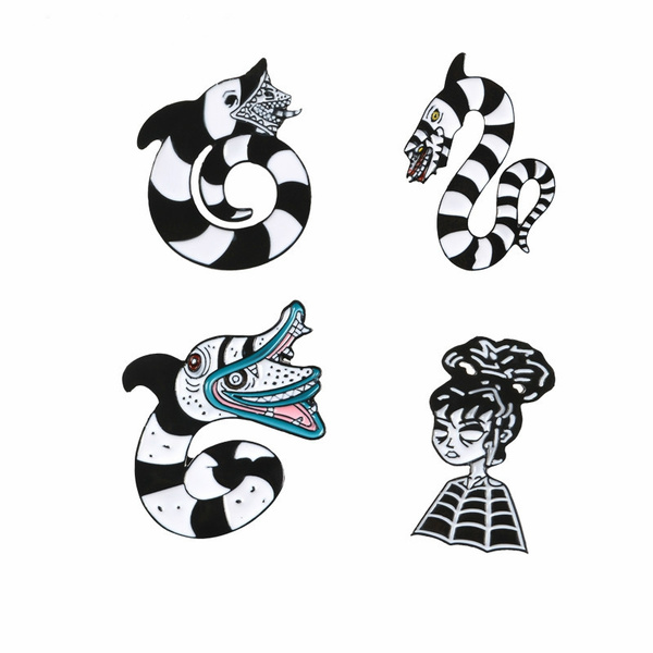 Beetlejuice Sandworm Lydia Deets Pins Badge And Symbol Brooch Gothe Pins Halloween Brooch Jewelry Movie Wish