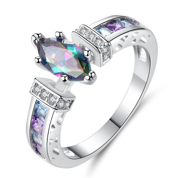 rainbow, whitegoldring, crystal ring, Jewelry