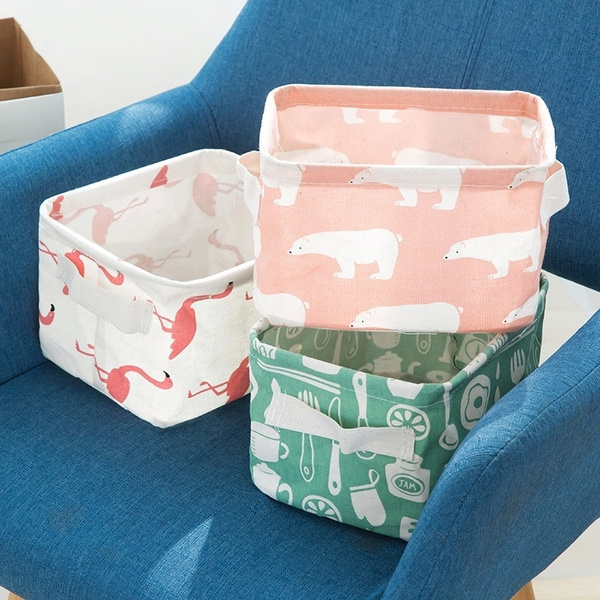 Cute Printing Waterproof Storage Basket Desktop Cotton Linen Storage Organizer