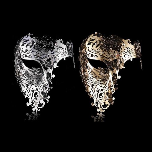 Halloween Bright Silver Metal Skull /& Phantom Costume Night Party Masks
