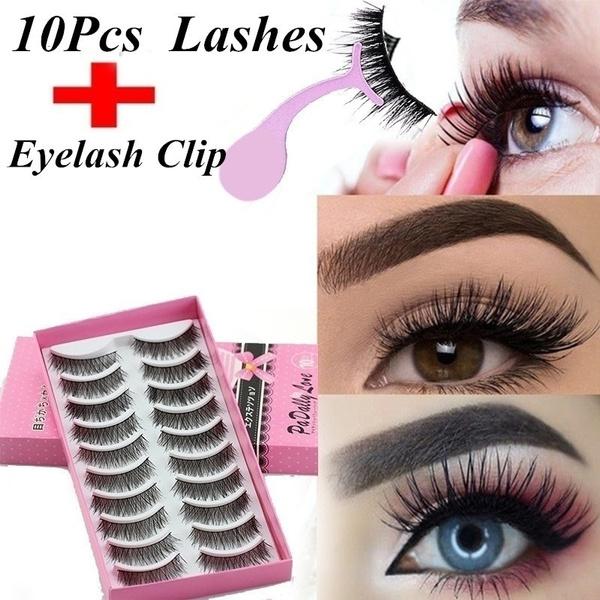 5bd6df71e00 10pair 3D Fake Eye Lashes Makeup+1p Eyelash Curlers Hot False ...