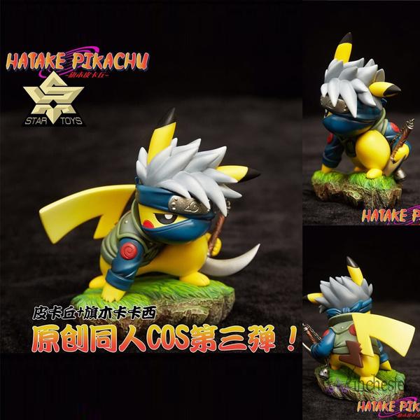 10cm Anime Pikachu Cos Hatake Kakashi Naruto Shippuden PVC Action Figure Toys