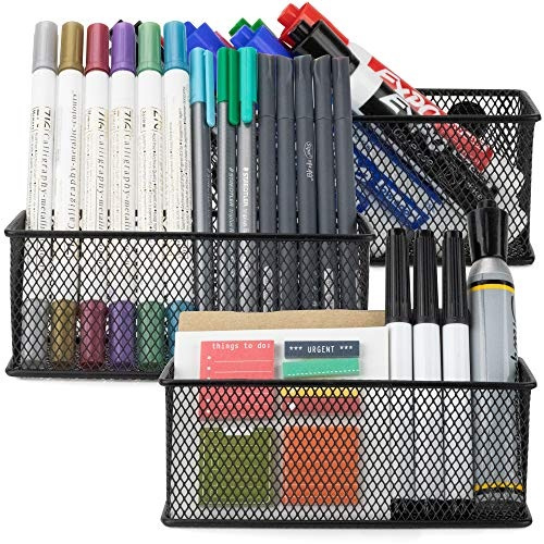 Workablez Magnetic Pencil Holder Set Of 3   Mesh Storage Baskets With Extra  Strong Magnets   Perfect Marker And Pen Organizer Set Holds Securely Your  ...
