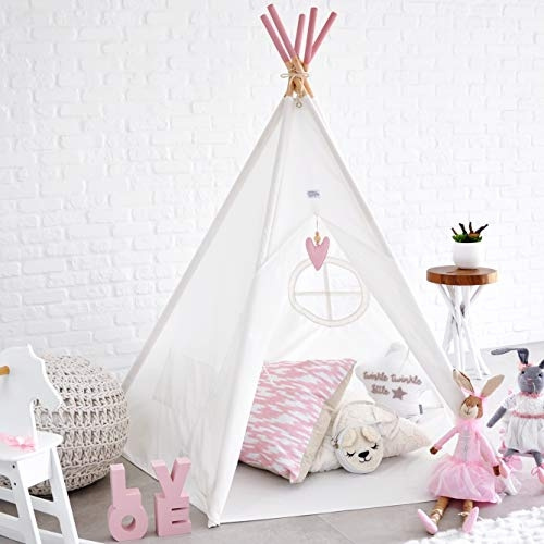 buy online 4553c 05b1f Kids Foldable Teepee Play Tent: Large Reinforced 5 Poles Play House Indoor  Outdoor, WHITE CANVAS, Floor Mat, Pink Heart or Grey Moon Accessory, Tipi  ...