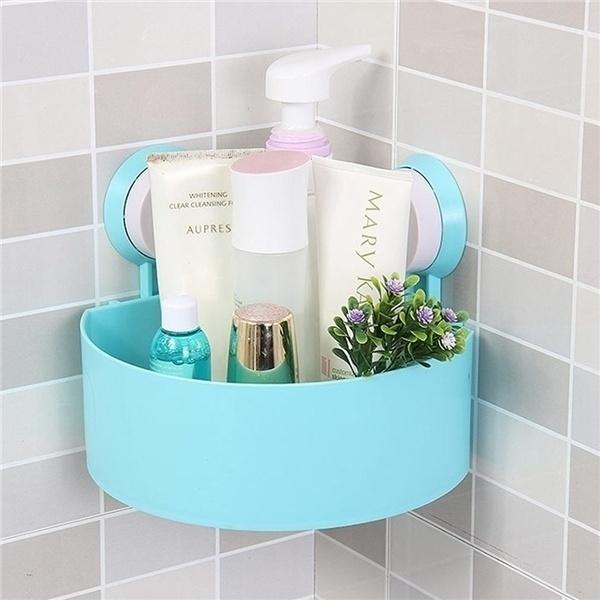 Plastic Suction Cup Kitchen Bathroom Corner Storage Rack Organizer Shower ShelfT