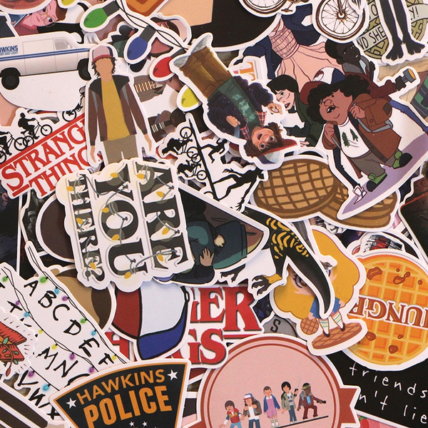 66 Pcs Set Stranger Things Not Repeating Stickers Waterproof Sticker For Car Luggage Laptop Decal Bedroom Wallpaper Diy Accessory M2672