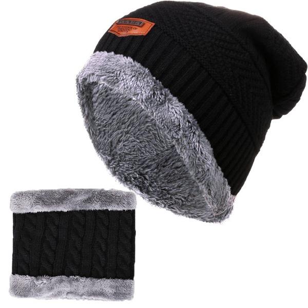 0c687b2e0b1 2Pcs Men Winter Beanie Hat Scarf Set Warm Knit Earmuffs Caps Plus ...
