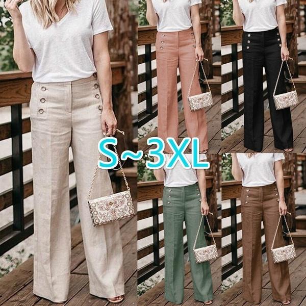 Women Pants, elastic waist, wideleg, Waist