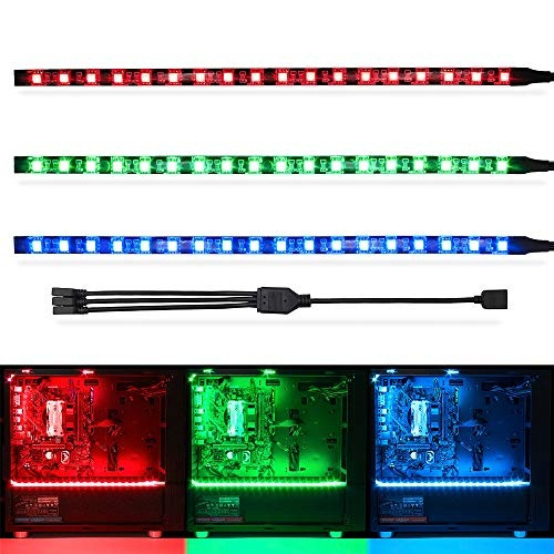 WOWLED RGB Gaming LED Strip Lights for Mid Tower PC Case Lighting, Gamer  DIYs for Aura Sync and M/B with 4pin RGB Header 30cm 5050 SMD with Magnet