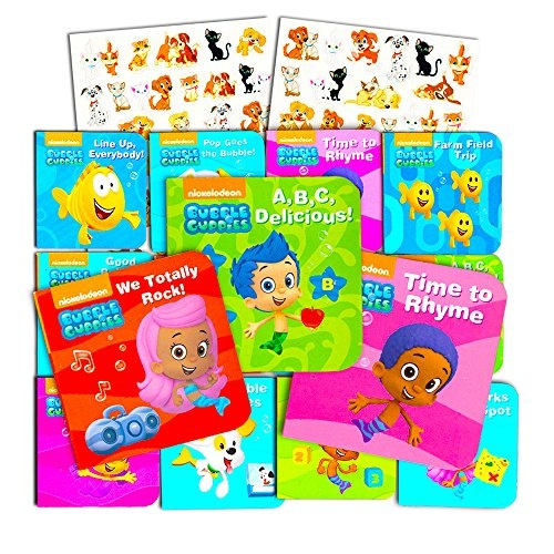 Nick Jr Bubble Guppies Board Books Set For Toddlers Babies Kids -- Pack of  12 \