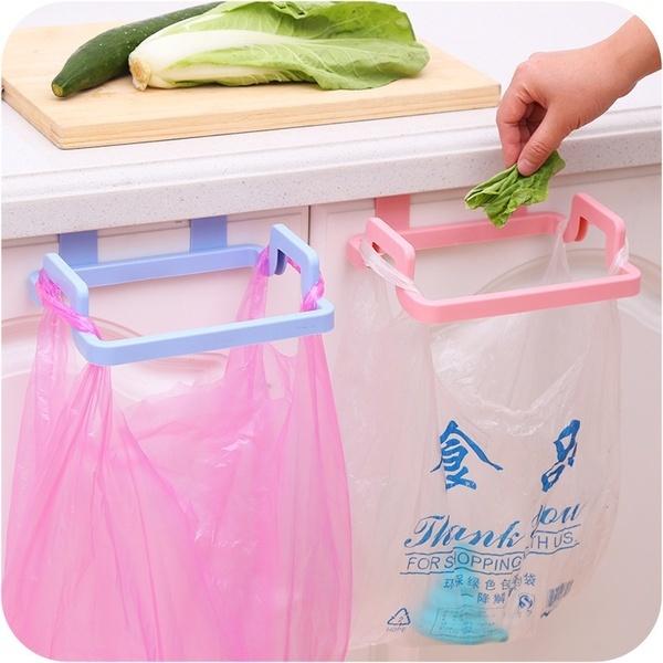 Trash Bag Holder Wipers Rack Kitchen Cupboard Hanger Shelf Over Door Rack Bar by Wish