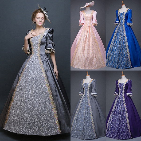 2018 Plus Size 5XL Renaissance Victorian Dress Half Sleeve Lace Ball Gown  Vampire Halloween Dress Southern Belle Costume Historical Stage Clothing